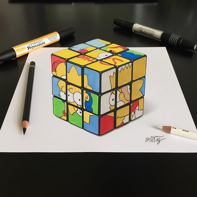 02-The-Simpsons-Rubik-s-Cube-Stephan-Moity-2D-Drawings-Optical-Illusions-made-to-Look-3D-www-designstack-co