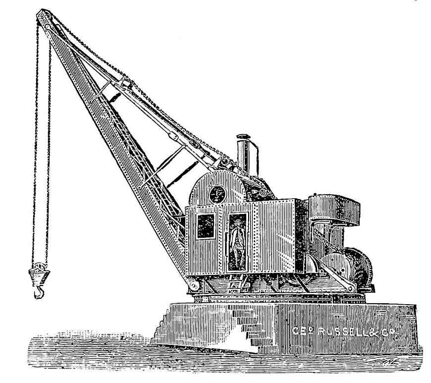 a 1902 industrial crane, an illustration