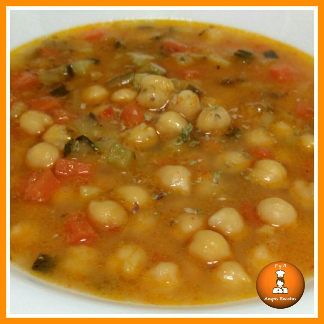 Garbanzos con verduras f cil y rico ampis recetas - Preparacion de garbanzos cocidos ...