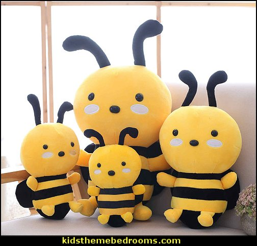 Plush Toy Bee Yellow Stuffed Animal Dolls  bumble bee bedrooms - Bumble bee decor - Honey bee decor - decorating bumble bee home decor - Bumble Bee themed nursery - bee wallpaper mural decals - Honeycomb Stencil - hexagonal stencils - bees in springtime garden bedroom -  bee themed nursery - black yellow bedroom ideas