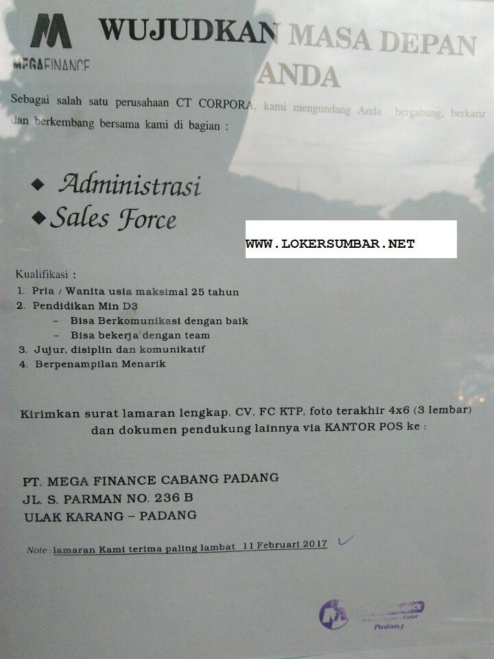 Lowongan Kerja di Padang – PT.Mega Finance Cab.Padang – 2 Posisi (Penutupan 11 Feb.2017)