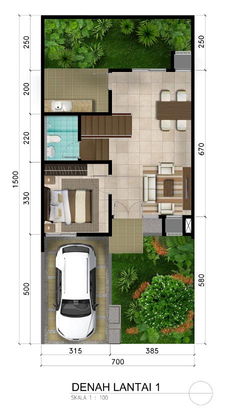 Denah rumah minimalis ukuran 7x15 meter 2 kamar tidur 2 lantai