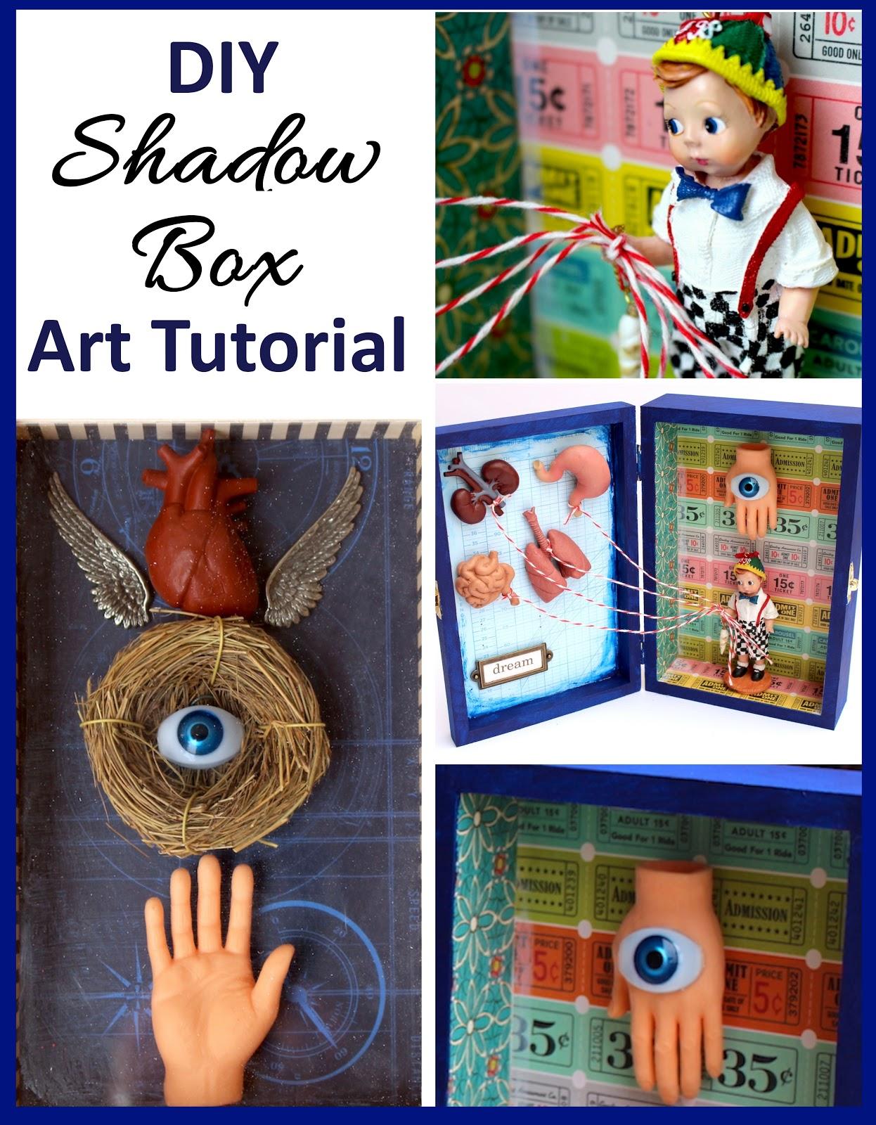 unique diy shadow box art tutorial. Black Bedroom Furniture Sets. Home Design Ideas