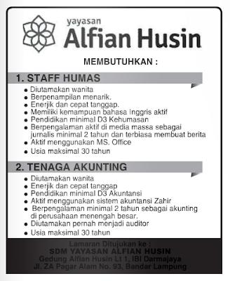 Lowongan Kerja YAYASAN ALFIAN HUSIN Lampung