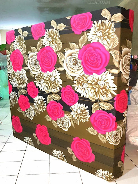 Kasur inoac motif bunga rositha coklat