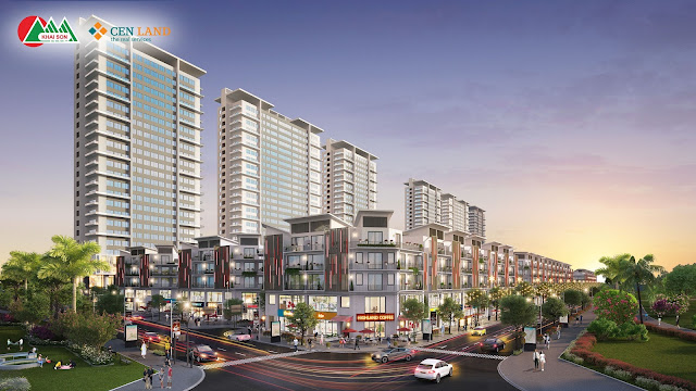 Khai Sơn City với góc View nhìn khu nhà phố thương mại