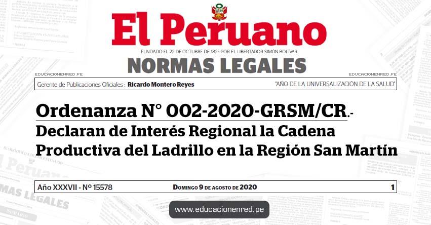 Ordenanza N° 002-2020-GRSM/CR.- Declaran de Interés Regional la Cadena Productiva del Ladrillo en la Región San Martín