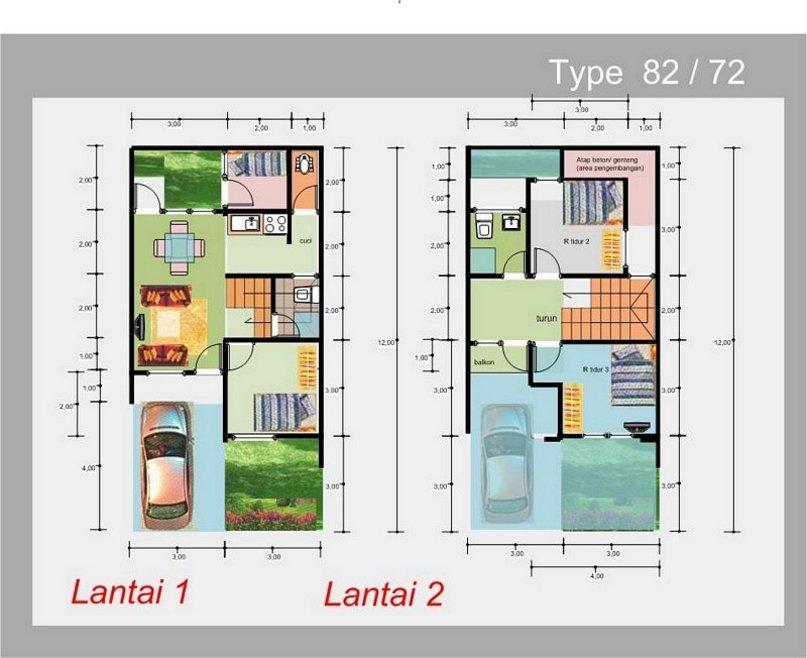 denah rumah ukuran 6x12 m2 yang terbaru