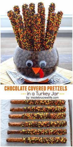 CHOCOLATE COVERED PRETZELS IN A TURKEY JAR