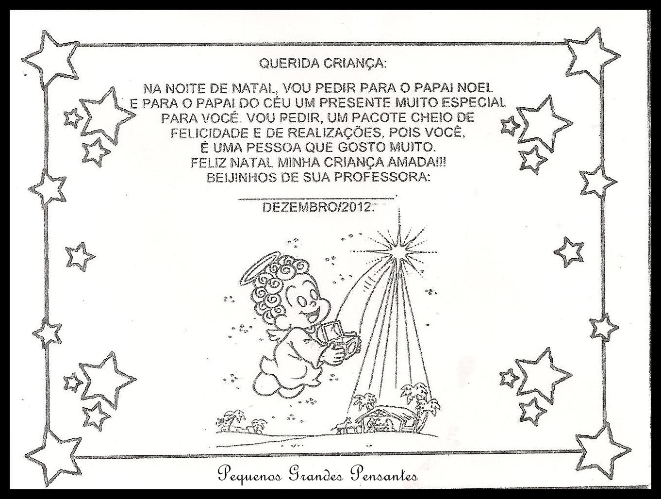 Pequenos Grandes Pensantes Cartoes De Natal Para Educacao Infantil