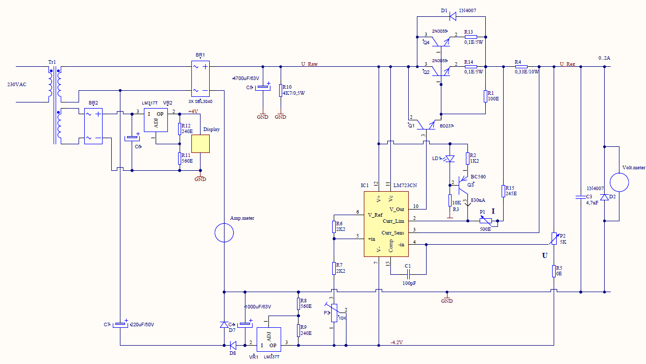Circuit Diagram Of Variable Dc Power Supply Engine Control Wiring The 050v 3a Lm723 Gallery Ps 305