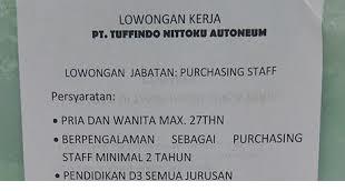 Loker PT. Tuffindo Nittoku Autoneum Kerawang Posisi Purchasing Staff dan Leader Warehouse