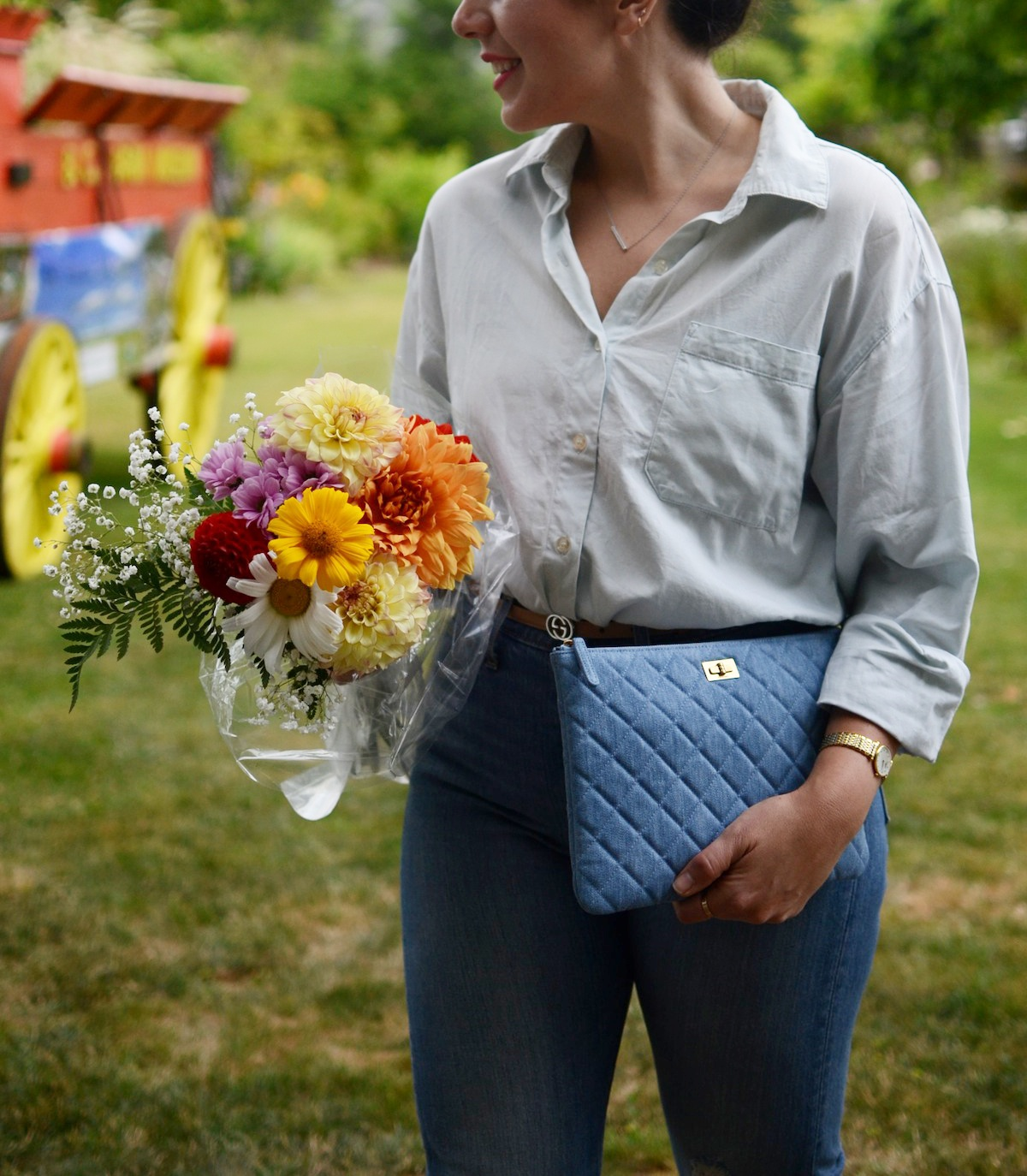 Chanel denim pouch levi's wedgie jeans outfit fort langley vancouver fashion blogger Canadian tuxedo outfit