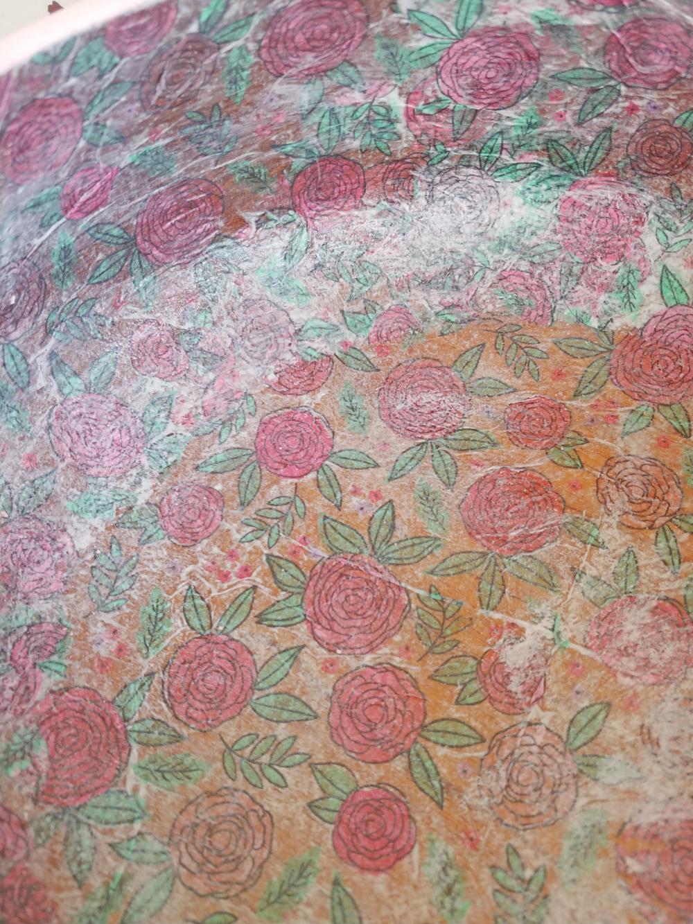 napkin decoupage close up