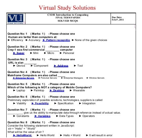 cs507 final term solved papers with reference Cs507 assignment no 02 fall 2013 idea solution required 05 december 2013 cs607 solved quiz 01 fall 2013 by zeeshan for mid term papers cs508 solved mcqs and quiz solved by arslan & zeeshan fall 2013.