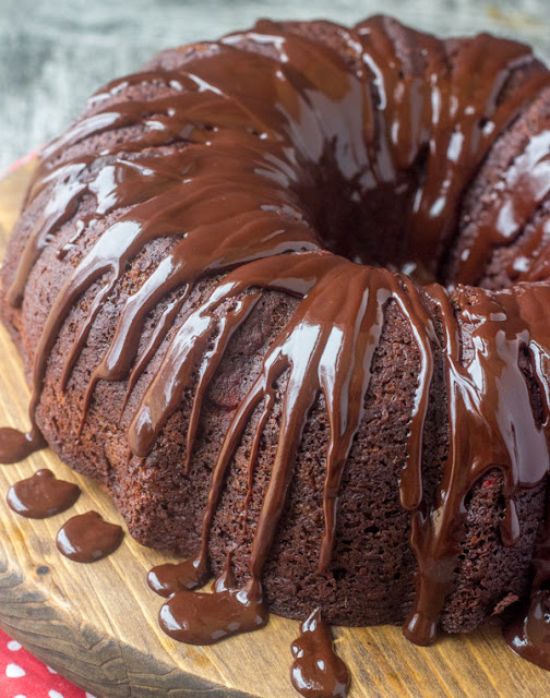 whole chocolate cherry fudge bundt cake