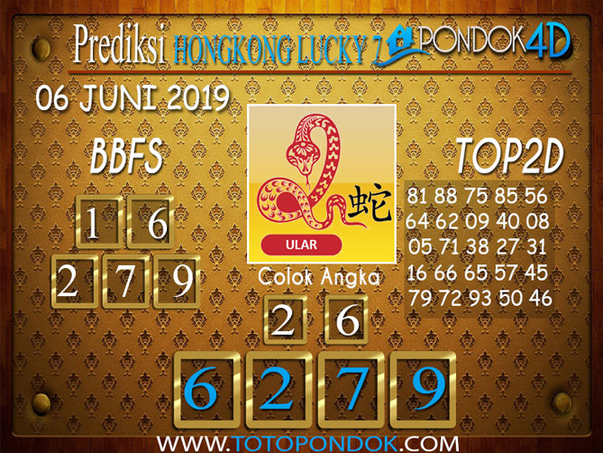 Prediksi Togel HONGKONG LUCKY 7 PONDOK4D 06 JUNI 2019
