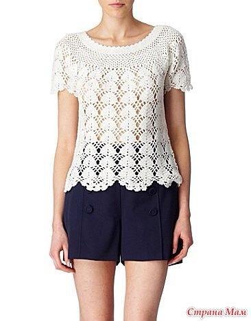 Blusa Blanca a Crochet