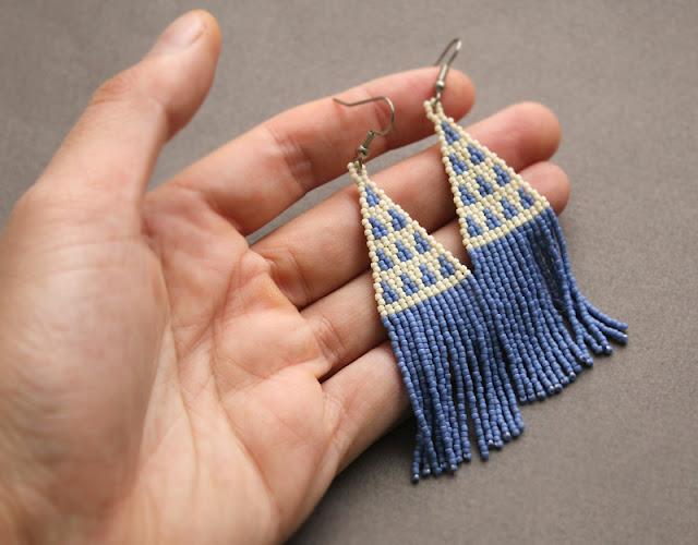 купить молодежные украшения из бисера этно серьги ручной работы