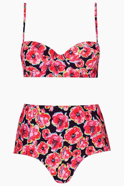 Bikini braguitas altas flores Topshop SS 2015 silueta triángulo