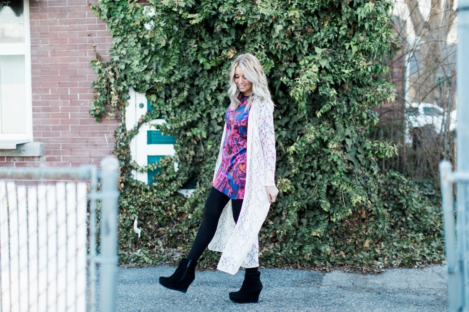 Black Wedge Booties, Floral Dress, Fashion Blogger