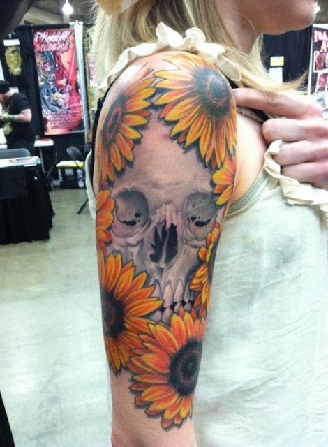 Skull Sunflower Tattoo Sleeve For Girls