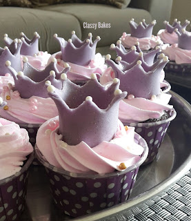 Princess cupcakes with crown, pearls and glitter