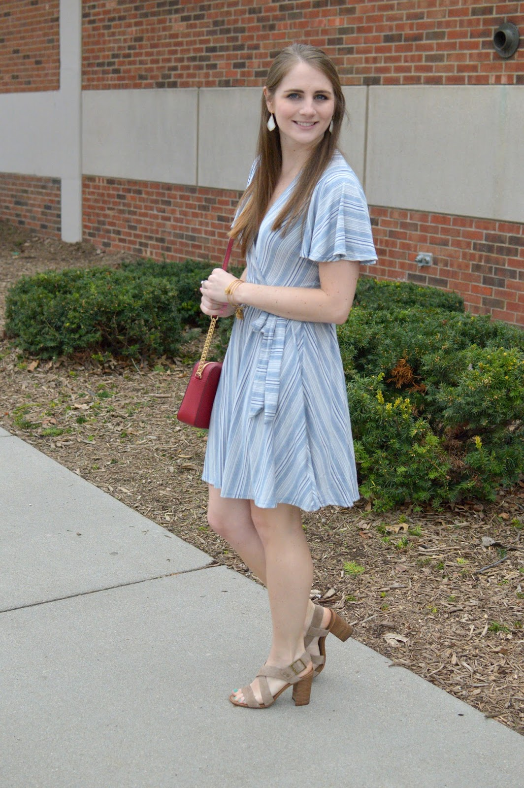 casual dress for spring or summer: striped flutter sleeve dress