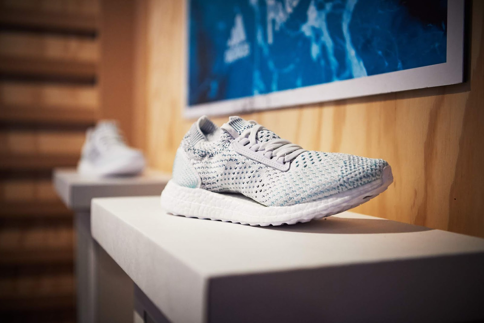 5770fe5d14177 Showcased at the event was the limited-release UltraBOOST Parley and UltraBOOST  X shoes. One pair is made from approximately 11 plastic bottles from the ...