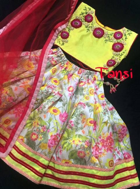 Floral Print Silk Lehenga
