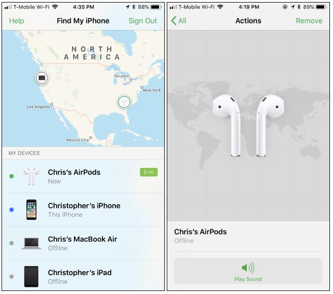 Posizione degli AirPods nella mappa per localizzarli