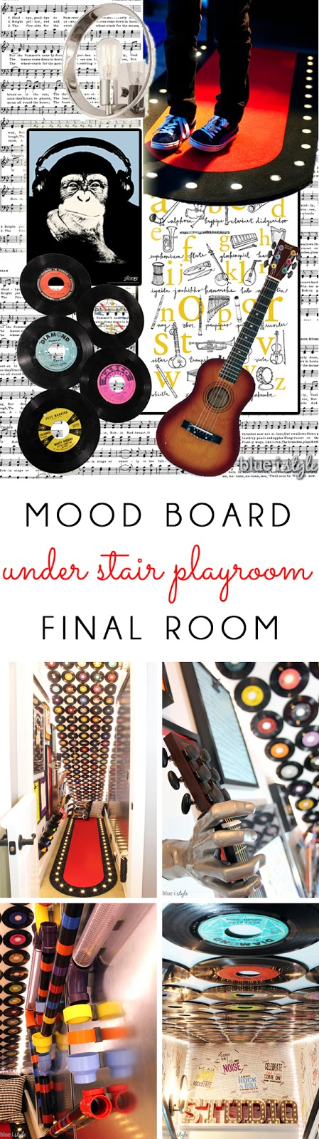 Rock and Roll Under Stair Playroom mood board and photos