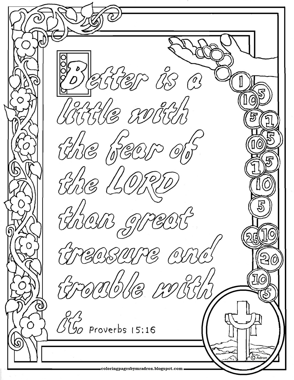 Coloring Pages for Kids by Mr. Adron: Proverbs 15:16 Print