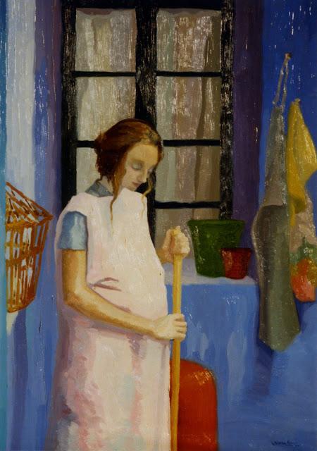 Cristina Alonso mujer embarazada hogar pintura impresionista
