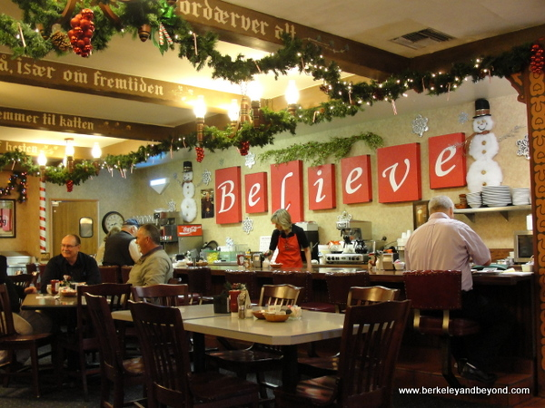 Christmas decor in Solvang Restaurant in Solvang, California