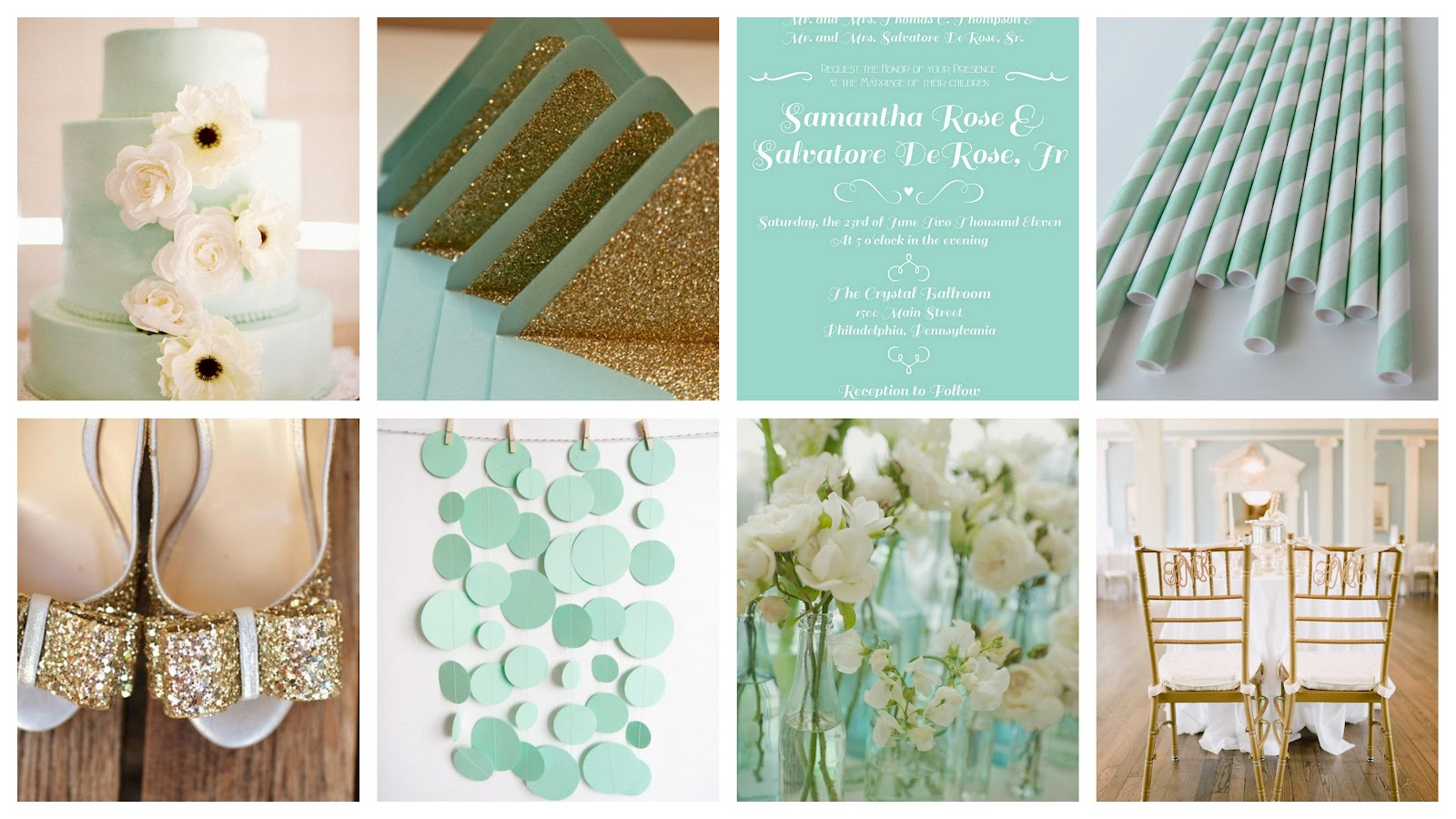 Mint Green And Gold Wedding Invitations: Pinklet And C: Mint.gold.white