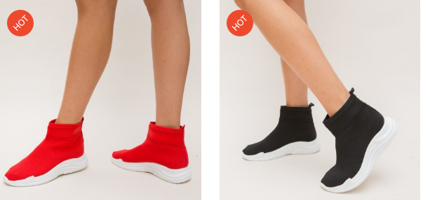 Adidasi dama inalti la moda 2019 din material textil negri, rosii