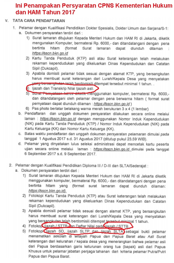 Persyaratan CPNS Kemenkumham republik indonesia