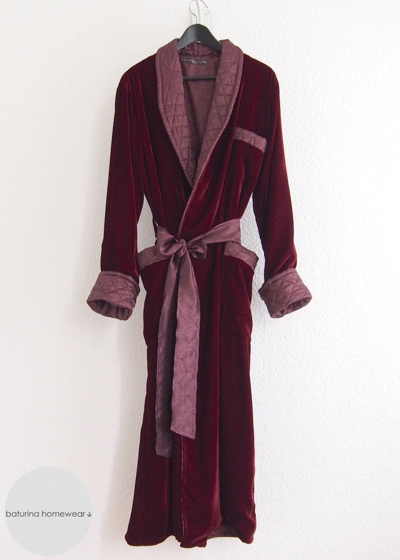 2c9075d6ef Gentleman s classic long burgundy red velvet quilted lounge dressing gown  robe.