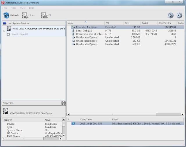 Active@ KillDisk 12.0.25.0 | Destruir de forma irreversible todos los datos de los discos duros, unidades USB, etc