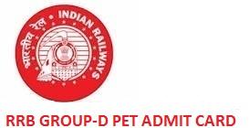 RRB Group D PET Admit Card 2019