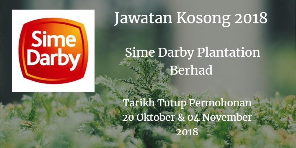 Jawatan Kosong Sime Darby Plantation Berhad 20 Oktober & 04 November 2018