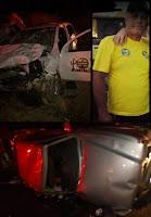 Acidente com mortes envolve carro da prefeitura de Olivedos; irmão de vice-prefeito é uma das vítimas