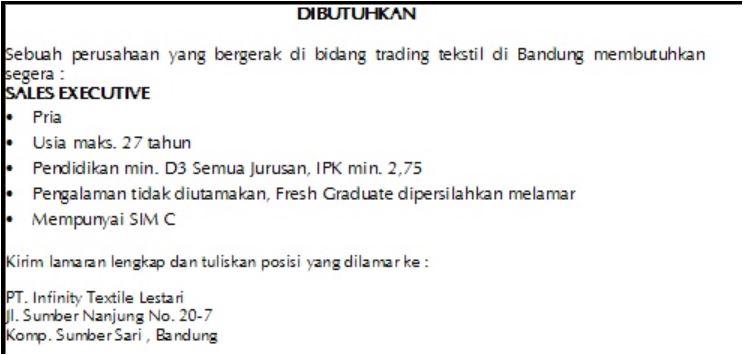 Lowongan Kerja PT Infinity Textile Lestari Bandung