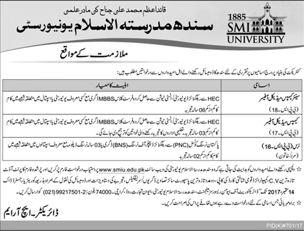 Jobs In Sindh Madressatul Islam University Karachi Aug 2017