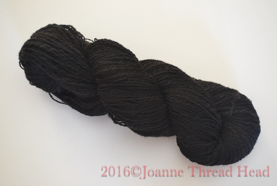 to become 350 yds, 106g of fingering weight yarn ( Dyed Black #2 ).