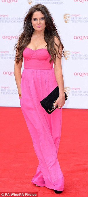 Aqua By Aqua, Baftas, Binky Felstead, Bright, Bust Detail, Corset Detail, Hot Pink, Jumpsuit, Made In Chelsea, MIC, Pink, Strapless, Tailored, Wide Leg