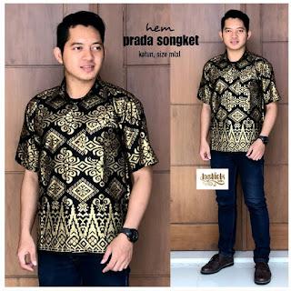 Batik Kemeja Batik Lengan Pendek Prada Songket - Wajik