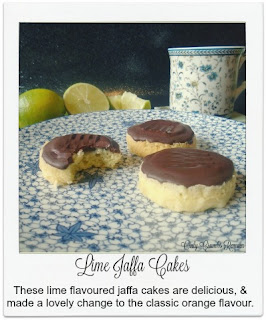 These GBBO inspired lime jaffa cakes made a lovely change to the classic orange flavour.  The fat-free sponge is topped with a vegetarian lime flavoured jelly disc before being coated with lime flavoured chocolate!