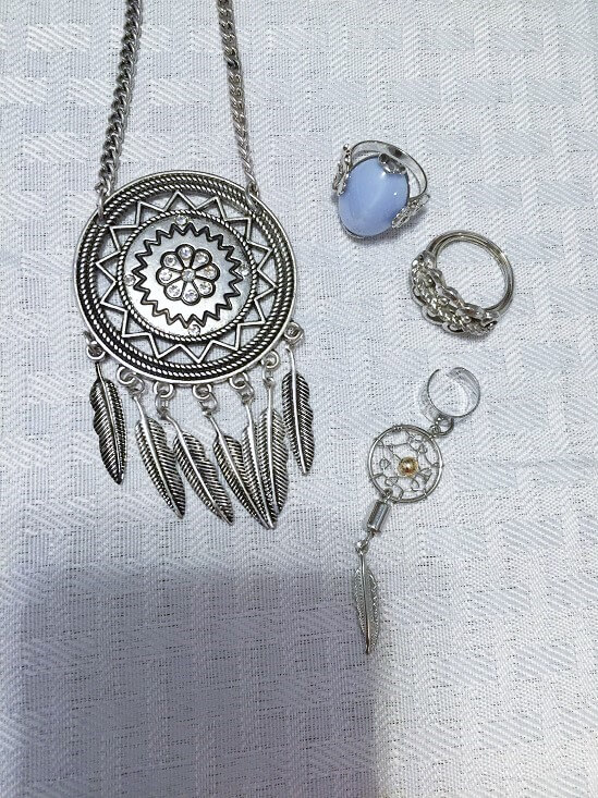 dreamcatcher necklace and ear cuff and rings